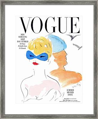 Vogue Cover Illustration Of Two Women Standing Framed Print