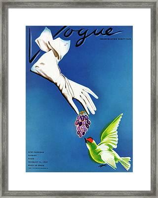 Vogue Cover Illustration Of White Gloves Framed Print by Raymond de Lavererie