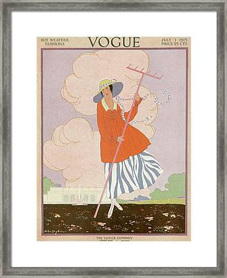 Vogue Cover Illustration Of Woman Holding Rake Framed Print by Helen Dryden