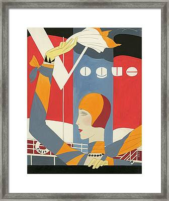 Vogue Cover Illustration Of Woman Waving Framed Print by Eduardo Garcia Benito