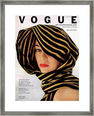 Vogue Cover Of Jean Patchett Framed Print by Clifford Coffin