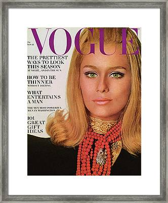 Vogue Cover Of Lauren Hutton Framed Print by Bert Stern