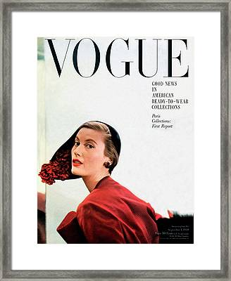 Vogue Cover Of Mary Jane Russell Framed Print by Frances Mclaughlin-Gill