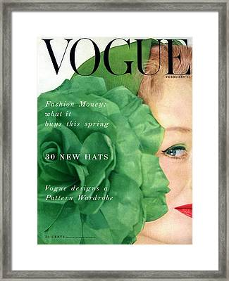 Vogue Cover Of Nina De Voe Framed Print by Erwin Blumenfeld