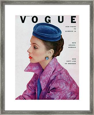Vogue Cover Of Suzy Parker Framed Print by John Rawlings