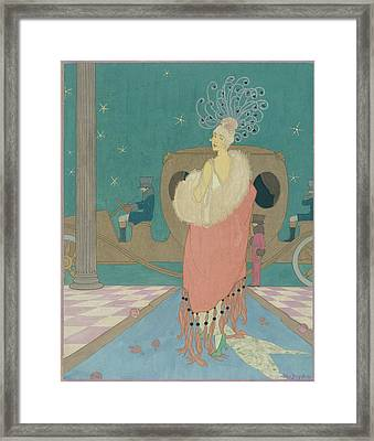 Vogue Illustration Of A Woman In A Pink Cape Framed Print by Helen Dryden