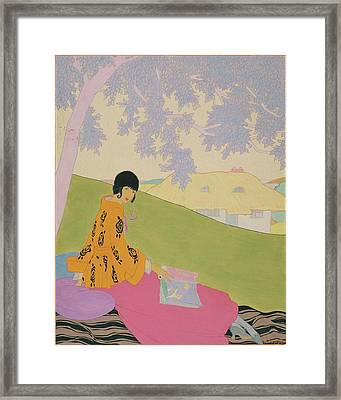 Vogue Illustration Of A Woman Sitting On A Hill Framed Print by Helen Dryden