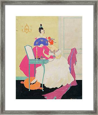 Vogue Illustration Of Two Women Around A Vanity Framed Print by Helen Dryden