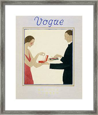 Vogue Magazine Cover Featuring A Couple Framed Print