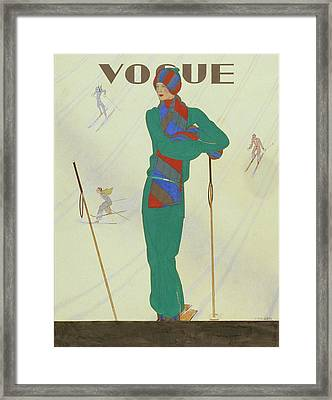 Vogue Magazine Cover Featuring A Model Posing Framed Print