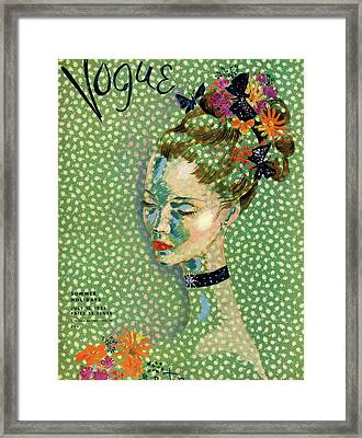 Vogue Magazine Cover Featuring A Woman Framed Print by Cecil Beaton