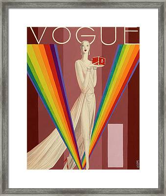 Vogue Magazine Cover Featuring A Woman In A Gown Framed Print by Eduardo Garcia Benito