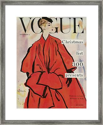 Vogue Magazine Cover Featuring A Woman In A Large Framed Print by Rene R. Bouche