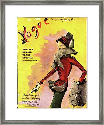 Vogue Magazine Cover Featuring A Woman In A Red Framed Print