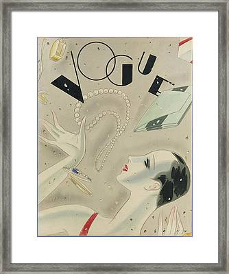 Vogue Magazine Cover Featuring A Woman Juggling Framed Print by William Bolin