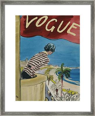 Vogue Magazine Cover Featuring A Woman Leaning Framed Print by Carl Oscar August Erickson