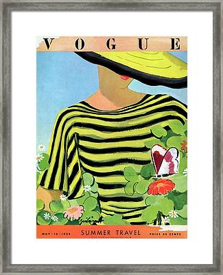 Vogue Magazine Cover Featuring A Woman Looking Framed Print by Alix Zeilinger