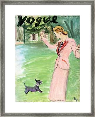Vogue Magazine Cover Featuring A Woman Playing Framed Print