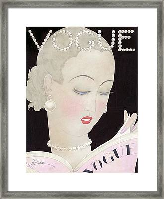 Vogue Magazine Cover Featuring A Woman Reading Framed Print