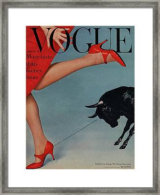 Vogue Magazine Cover Featuring A Woman Running Framed Print by Richard Rutledge