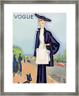 Vogue Magazine Cover Featuring A Woman Walking Framed Print by Eduardo Garcia Benito