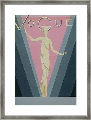 Vogue Magazine Cover Featuring A Woman Wearing Framed Print by Eduardo Garcia Benito