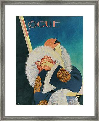 Vogue Magazine Cover Featuring A Woman Wearing Framed Print