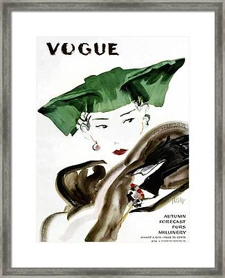 Vogue Magazine Cover Featuring A Woman Wearing Framed Print by Rene Bouet-Willaumez