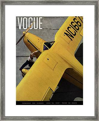 Vogue Magazine Cover Featuring A Young Woman Framed Print by Anton Bruehl