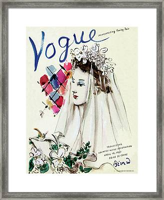 Vogue Magazine Cover Featuring An Illustration Framed Print by Christian Berard