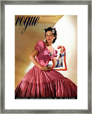 Vogue Magazine Cover Featuring Model Kay Herman Framed Print