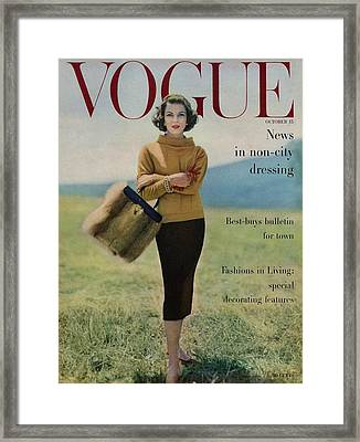 Vogue Magazine Cover Featuring Model Va Taylor Framed Print by Karen Radkai