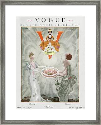 Vogue Magazine Cover Featuring Two Women Carrying Framed Print by Georges Lepape & Pierre Brissaud