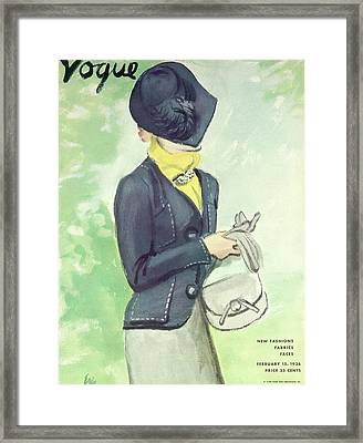 Vogue Magazine Cover Featuring Woman In A Dark Framed Print by Carl Oscar August Erickson