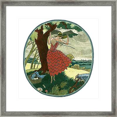 Vogue Magazine Illustration Of A Woman Protecting Framed Print