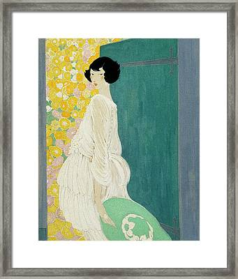 Vogue Magazine Illustration Of A Woman Standing Framed Print by Helen Dryden