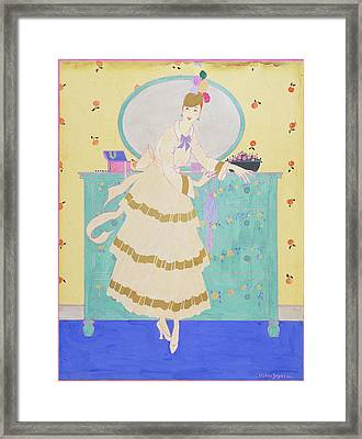 Vogue Magazine Illustration Of A Woman Wearing Framed Print by Helen Dryden