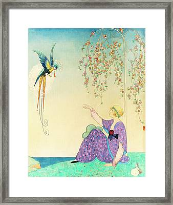 Vogue Magazine Illustration Of Woman Reaching Framed Print by George Wolfe Plank