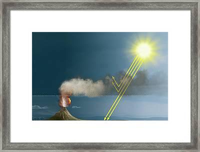Volcanic Eruption Blocking The Sun Framed Print by Claus Lunau
