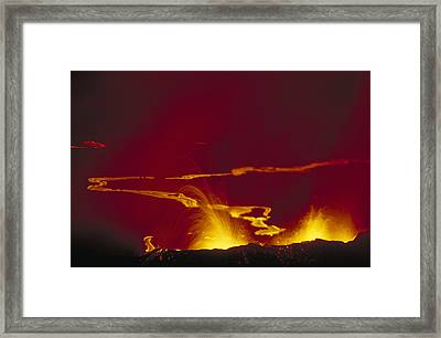 Volcanic Eruption Volcan Chico Framed Print by Tui De Roy