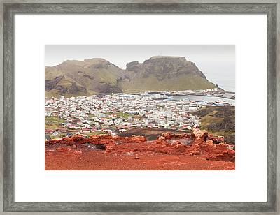 Volcano Above Heimaey Framed Print by Ashley Cooper