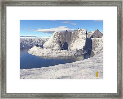 Volcano In A Lake Framed Print