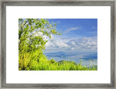 Volcano Within A Lake Framed Print by George Paris