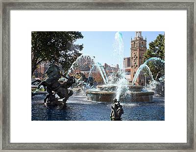 Jc Nichols Memorial Fountain In Blue Framed Print by Ellen Tully