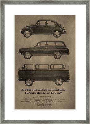 Volkswagen Advertisement Framed Print by Dan Sproul