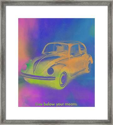 Volkswagen Beetle Ad Pop Art Framed Print by Dan Sproul