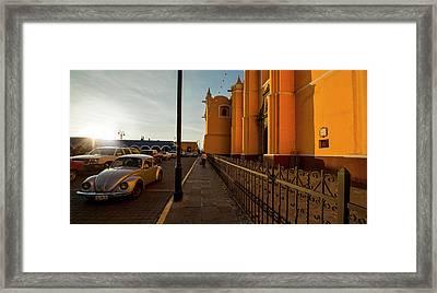 Volkswagen Beetle Car On Street Framed Print