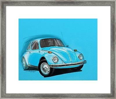 Volkswagen Beetle Vw Blue Framed Print by Etienne Carignan