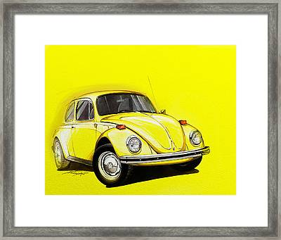 Volkswagen Beetle Vw Yellow Framed Print by Etienne Carignan