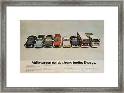 Volkswagen Body Facts Framed Print by Georgia Fowler
